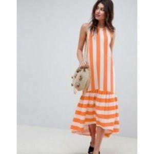 ASOS Orange and White Striped Summer Dress